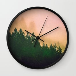 Cascadia Green Trees and Sunset Wall Clock