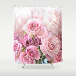 Pink Bouquet of Roses Shabby Chic Floral Wall Art Home Decor Shower Curtain