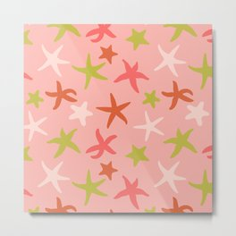 Starfishes silhouettes pink summer colors Metal Print