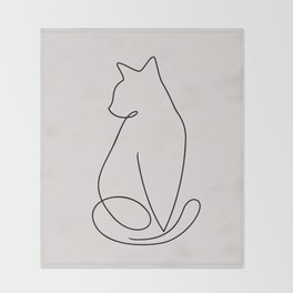 One Line Kitty Throw Blanket