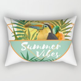 Summer Vibes Typography Tropical Bouquet With Toucan Rectangular Pillow