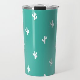 Minimalist Cactus Pattern in Turquoise Blue Green and White Travel Mug