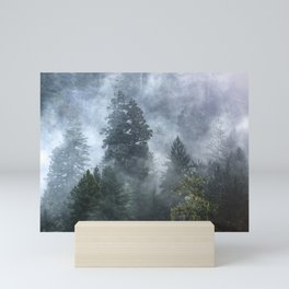 Smoky Redwood Forest Foggy Woods - Nature Photography Mini Art Print