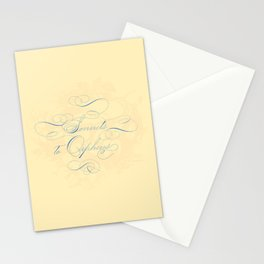 Sonnets to Orpheus Calligraphy Apricot Pastel Stationery Cards