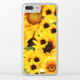 Wild yellow Sunflower Field Illustration Clear iPhone Case