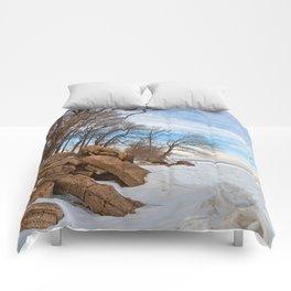 Rustic Winter Beach Comforters