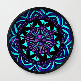 Papercut circle pattern Colour Wall Clock
