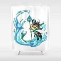 league of legends Shower Curtains featuring League of Legends - Tideturner Nami Fanart by kirueru