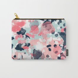 Isla - abstract painting navy mint coral trendy color palette summer bright decor Carry-All Pouch