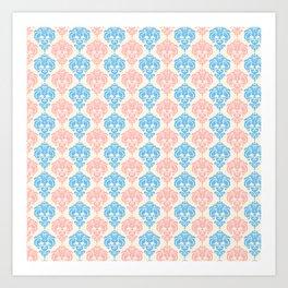 Vintage chic ivory coral blue floral damask pattern Art Print
