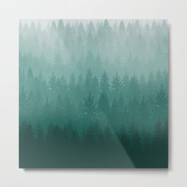 Misty Pacific Northwest Forest Metal Print