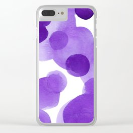 Aubergine Bubbles: Abstract purple watercolor painting Clear iPhone Case