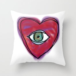 DOODLE HEART EYE 1 Throw Pillow