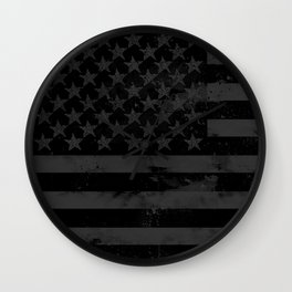 Black American Flag Wall Clock