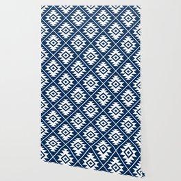 Aztec Symbol Ptn White on Dk Blue Wallpaper