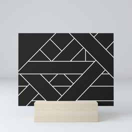 Charcoal Black and White Geometric Abstract Paths and Lines Mini Art Print