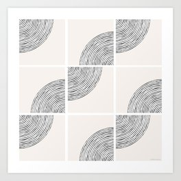 Threads; Black, White and Neutral Tile Pattern Art Print