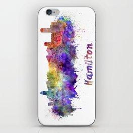 Hamilton skyline in watercolor iPhone Skin