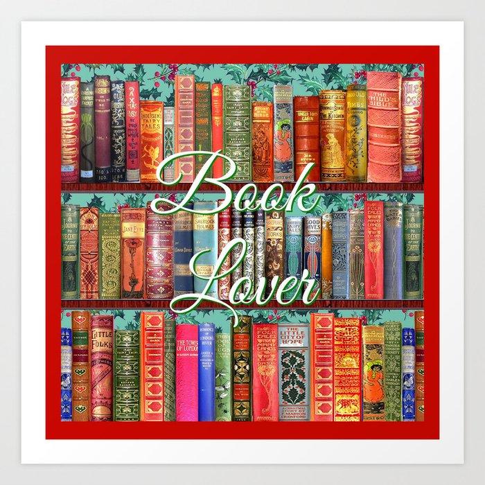 Vintage Books / Christmas bookshelf & holly wallpaper / holidays, holly, bookworm,  bibliophile Art Print