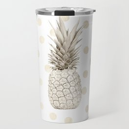 Gold Pineapple Polka Dots 1 Travel Mug