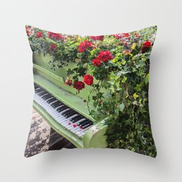 Piano with Flowers Throw Pillow
