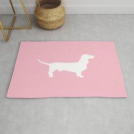 Pink Dachshund Silhouette Pattern Rug