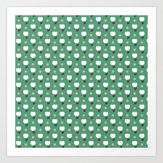 Micro Tulip nude/white/emerald Art Print