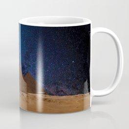 Great Giza Egyptian Pyramids of Menkaure, Khafre and Khufu under Stars Coffee Mug