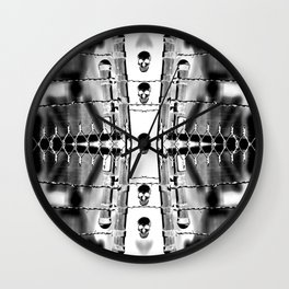 Skirting the Oblivion Fence in Black and White Wall Clock
