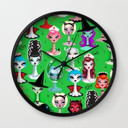 Spooky Dolls on Green Wall Clock