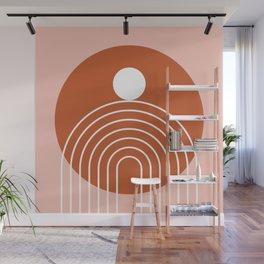 Mid Century Modern Geometric 39 in Terracotta Rose Gold (Rainbow Sun Abstraction) Wall Mural