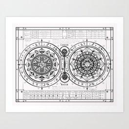 "Cancer ""Water Sign"" Mandala Zodiac Chart Art Print"