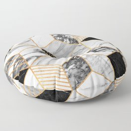 Marble Cubes 2 - Black and White Floor Pillow