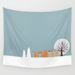 Retro series - Mid Century house in winter Wall Tapestry
