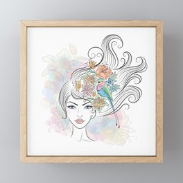 Portrait of a woman with tropical flowers and a bird in her hair. Framed Mini Art Print