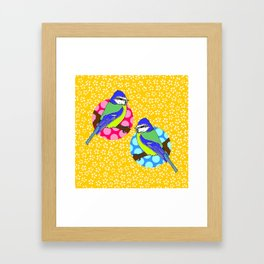 Blue Tits on Mustard Yellow Floral Background Framed Art Print