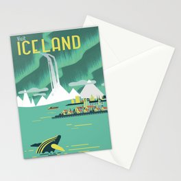 Vintage Mid Century Modern Iceland Scandinavian Travel Poster Ocean Whale Winter Village Stationery Cards