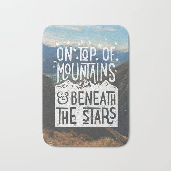 on top of mountain and beneath the stars Bath Mat