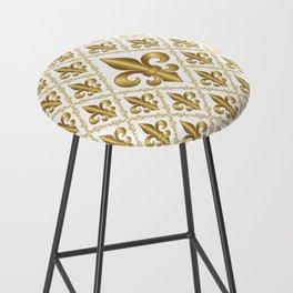 Gold Fleur-de-Lis Pattern Bar Stool