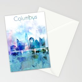 Columbus city watercolor skyline Stationery Cards
