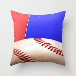 Baseball Sports on Blue and Red Throw Pillow