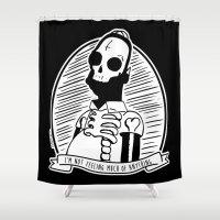 simpson Shower Curtains featuring Alternative Punk Homer Simpson Tattoo Art by zombieCraig