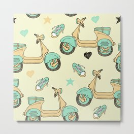 doodle scooter seamless pattern Metal Print