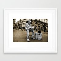 newspaper Framed Art Prints featuring Newspaper Man by Rob Hawkins Photography