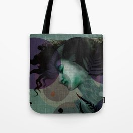 """""""The Girl and the Moon Burlap Texture"""" Tote Bag"""