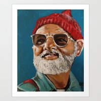 steve zissou Art Prints featuring Steve Zissou  by Kristin Frenzel