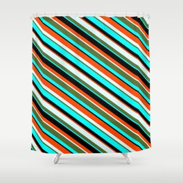 Colorful Cyan, Black, Red, Light Cyan & Dark Olive Green Colored Pattern of Stripes Shower Curtain