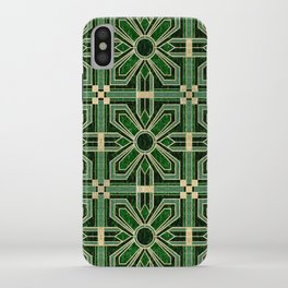 Art Deco Floral Tiles in Emerald Green and Faux Gold iPhone Case