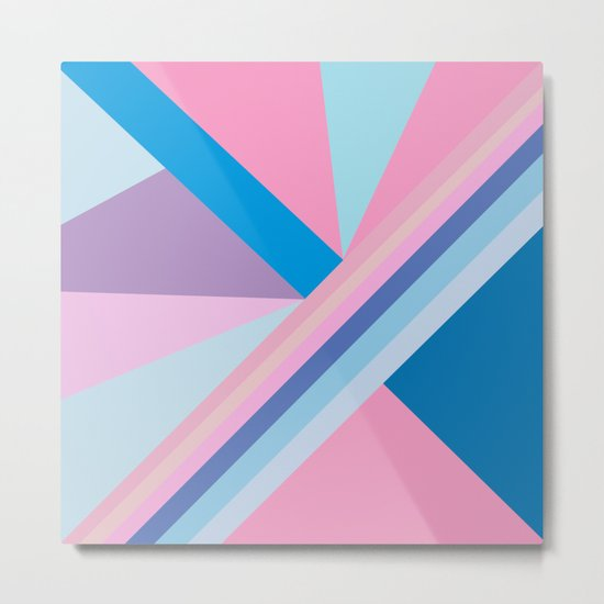 Trendy modern pink blue abstract pattern  Metal Print