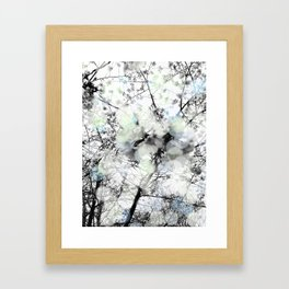 Black and white bokeh photography of a spring tree Framed Art Print